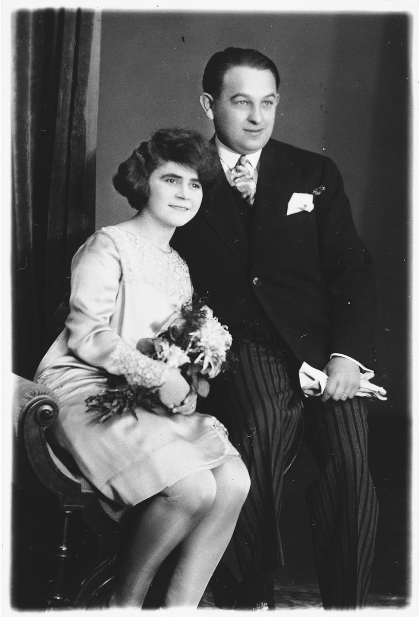 Wedding portrait of a Czech Jewish couple.  Pictured are Rose and Robert Lederer.  Rose later died in Auschwitz, and Robert, in Oranienburg.