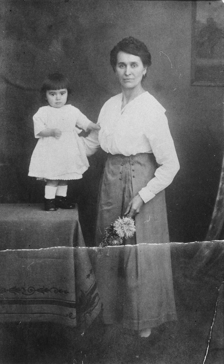Studio portrait of the Bordin family in Ansbach, Germany.  Pictured are Emilie (Geromin) Bordin with her daughter Frieda.