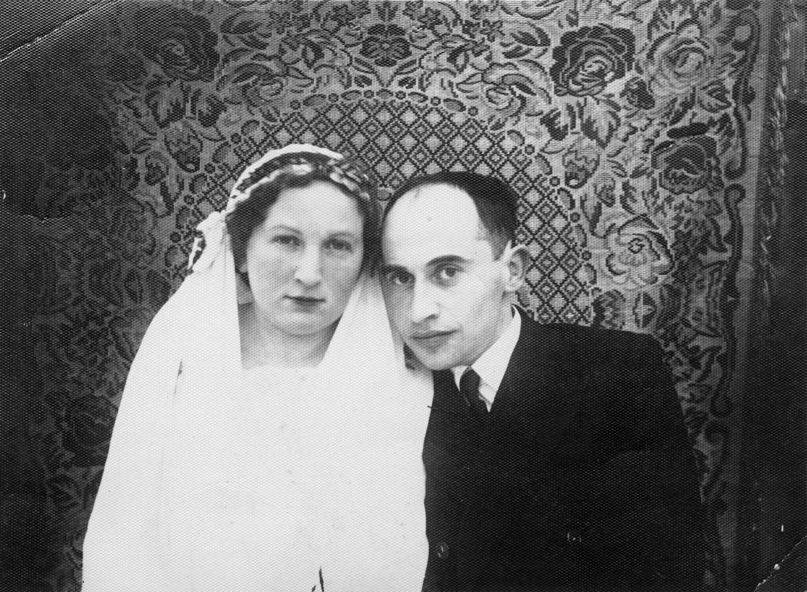 Wedding portrait of a Jewish couple in Kozowa, Poland.  Pictured are Inka Becher and Aaron Sptizbard.