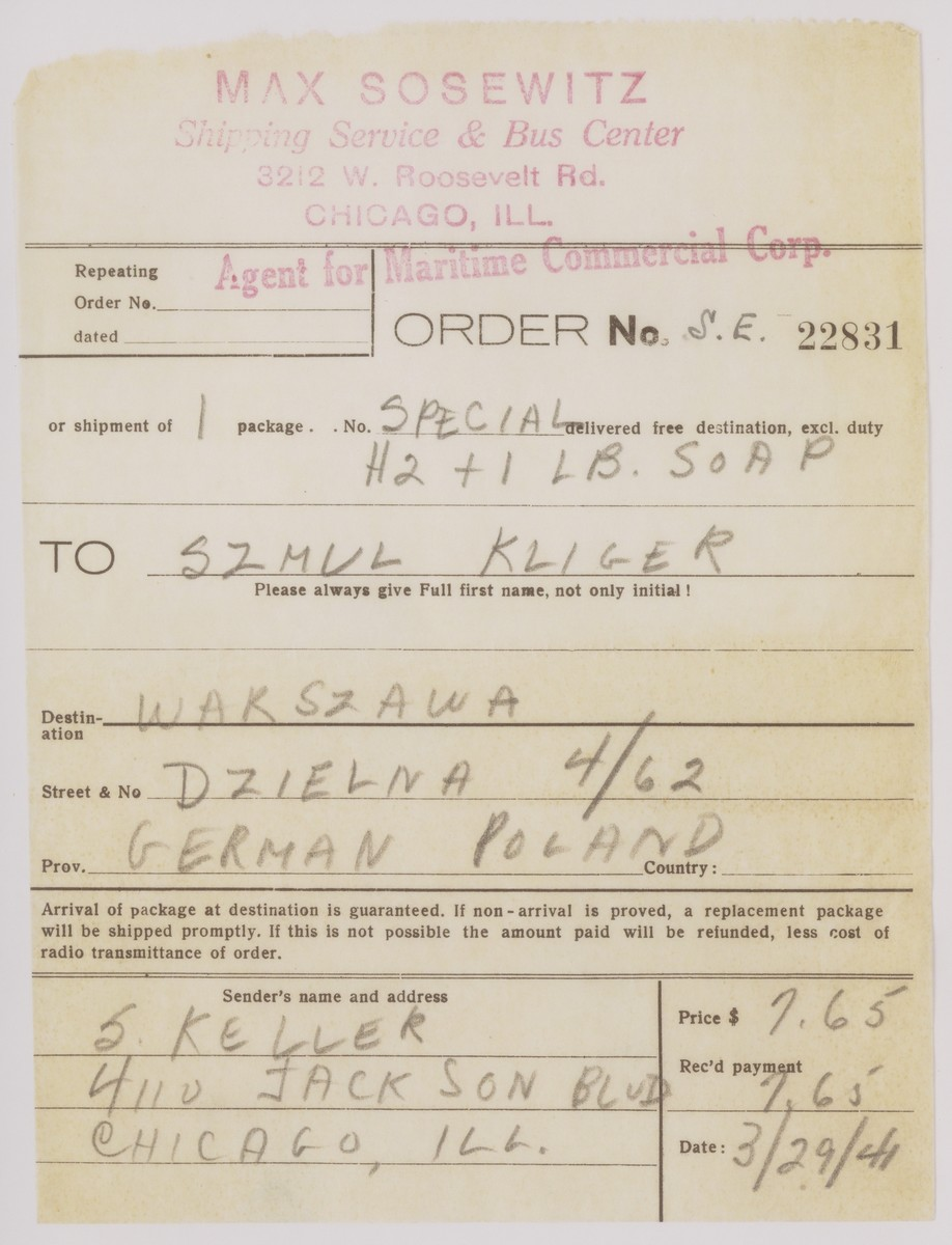 A receipt for a food package sent by Estera Tenenbaum to her Uncle Szmul Kliger in the Warsaw ghetto.