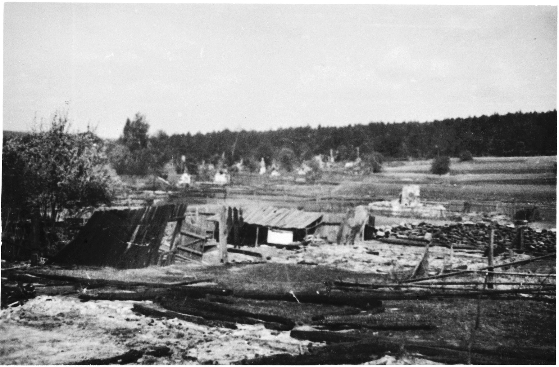 "The ruins of Michniow after its ""pacification"" by the 1st Motorized Police Battalion."