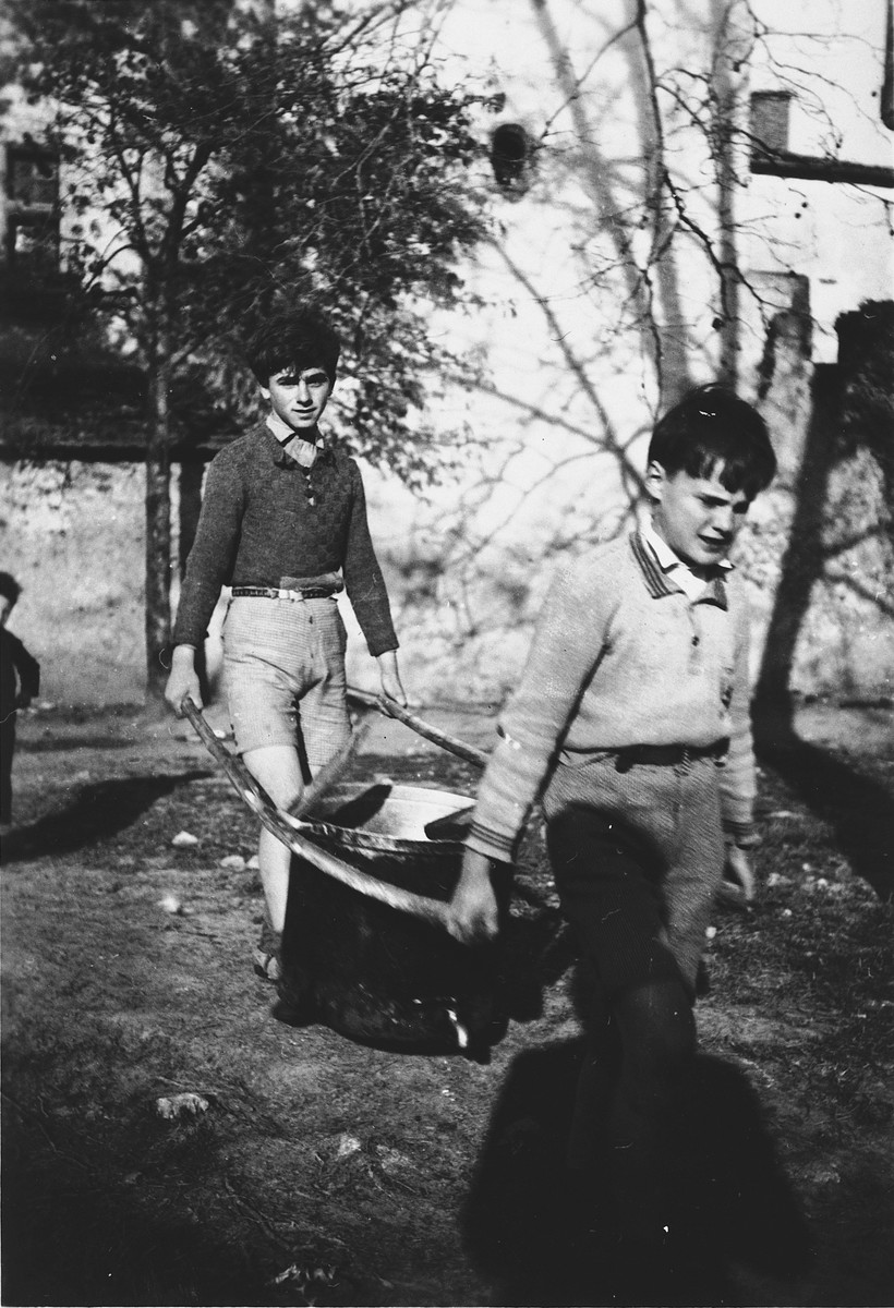 Two boys work in the garden of Chateau de la Hille.  From left are Georges Herz and Ferdinand Nohr.