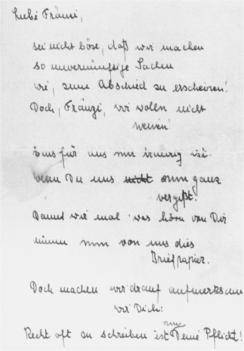 A poem given by Inge Hecht to Frances Rose, before Frances left on the first Kindertransport to England.