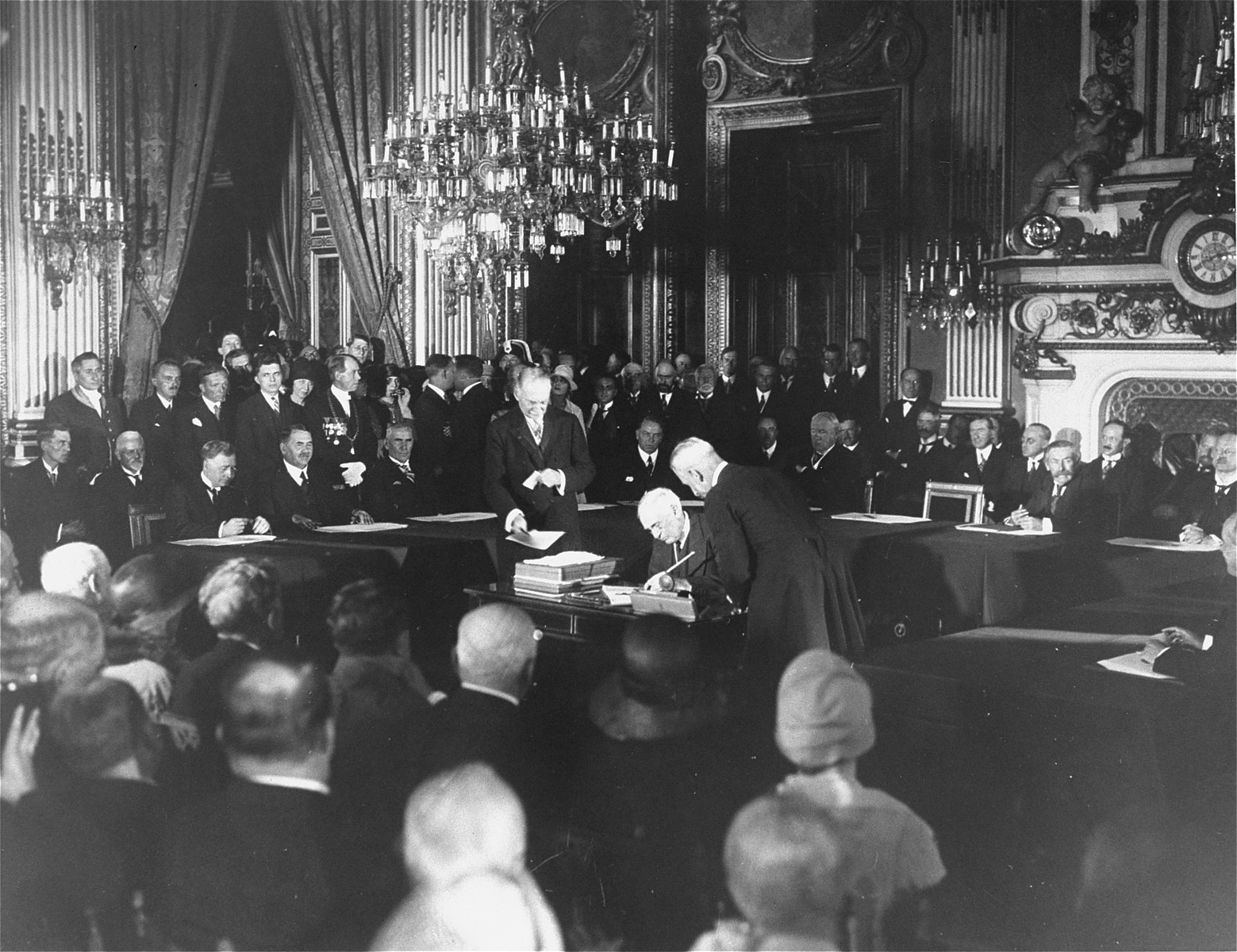 The signing of the Kellogg-Briand Pact by representatives of Germany, the United States, Belgium, France, Great Britain, Italy, Japan, Poland and the Czechoslovak Republic.  The Pact outlawed war as an instrument of national policy.