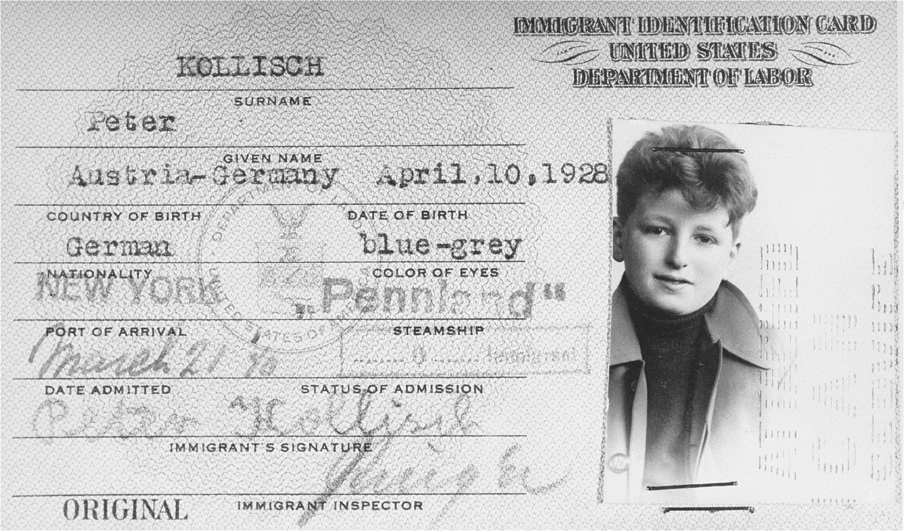 U.S. immigrant identification card issued to Jewish refugee Peter Kollisch from Vienna.