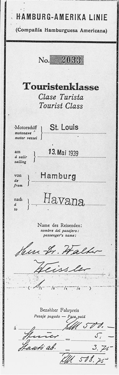 Boarding pass of St. Louis passenger Dr. Walter Weissler.  Dr. Walter Weissler is the uncle of the donor, Herbert Karliner.