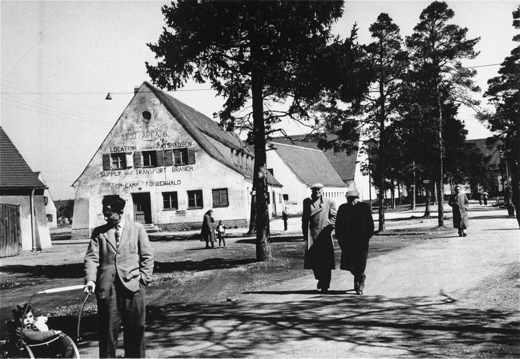 Street scene in the Foehrenwald displaced persons' camp.