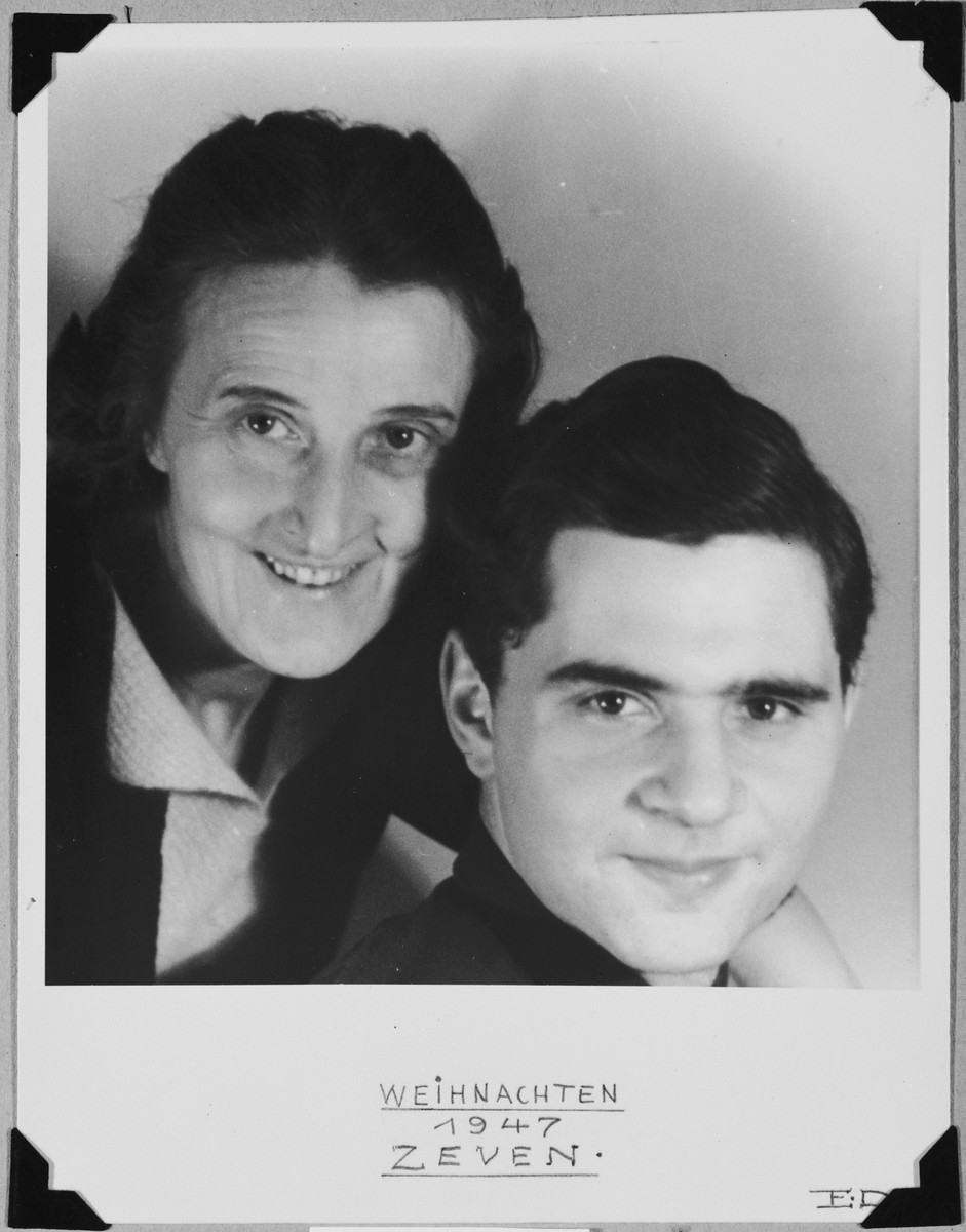 Christmas card portrait of the Jewish DP, Fritz Glueckstein, with his Christian aunt, Elfride Dressler, who helped take care of him during the war.