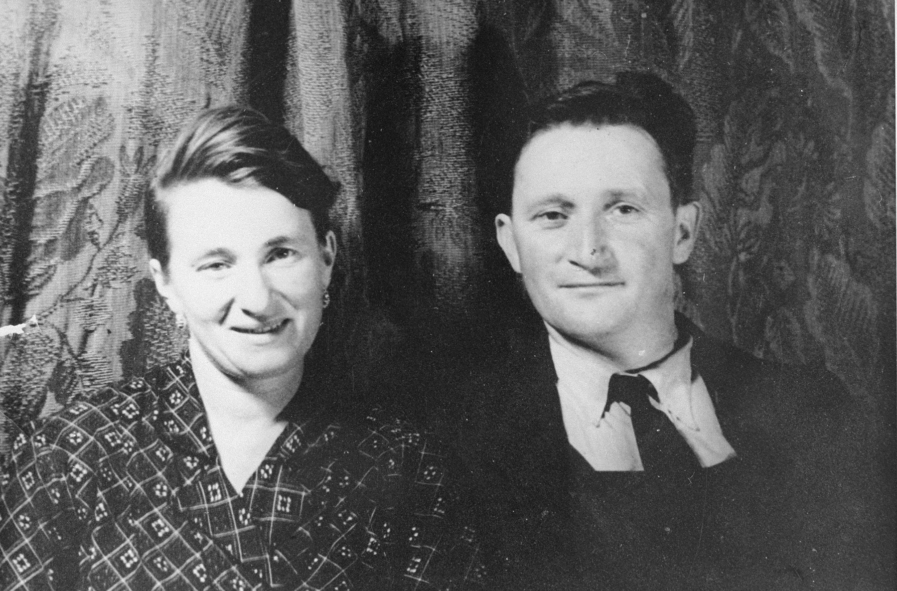 Portrait of a French rescuer couple, Batiste and Jeanne Lassalas, who hid two Jewish sisters, Jacqueline and Josette Glicenstein, on their farm in Saint Bonnet d'Orcival for two years during the German occupation of France.