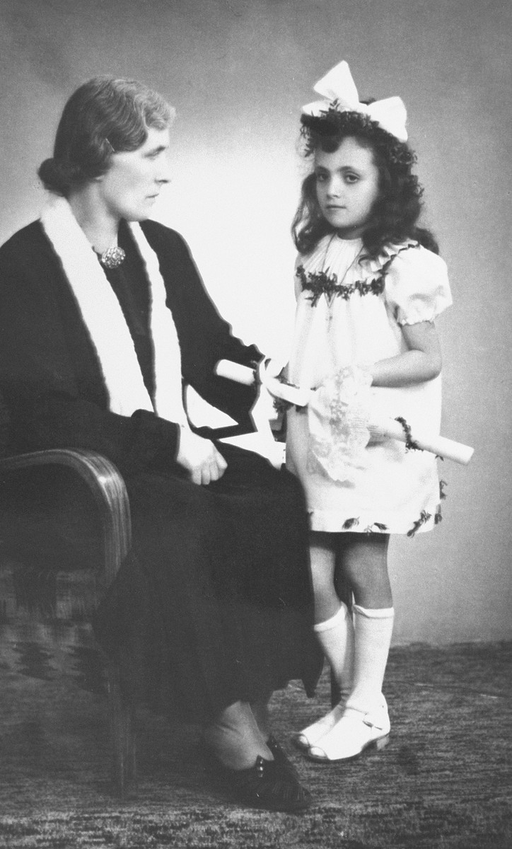 First Communion photo of Janina Nebel, a Jewish girl together with her rescuer Leokadia Nawrocka, the Polish woman who hid her from 1942 until 1946.