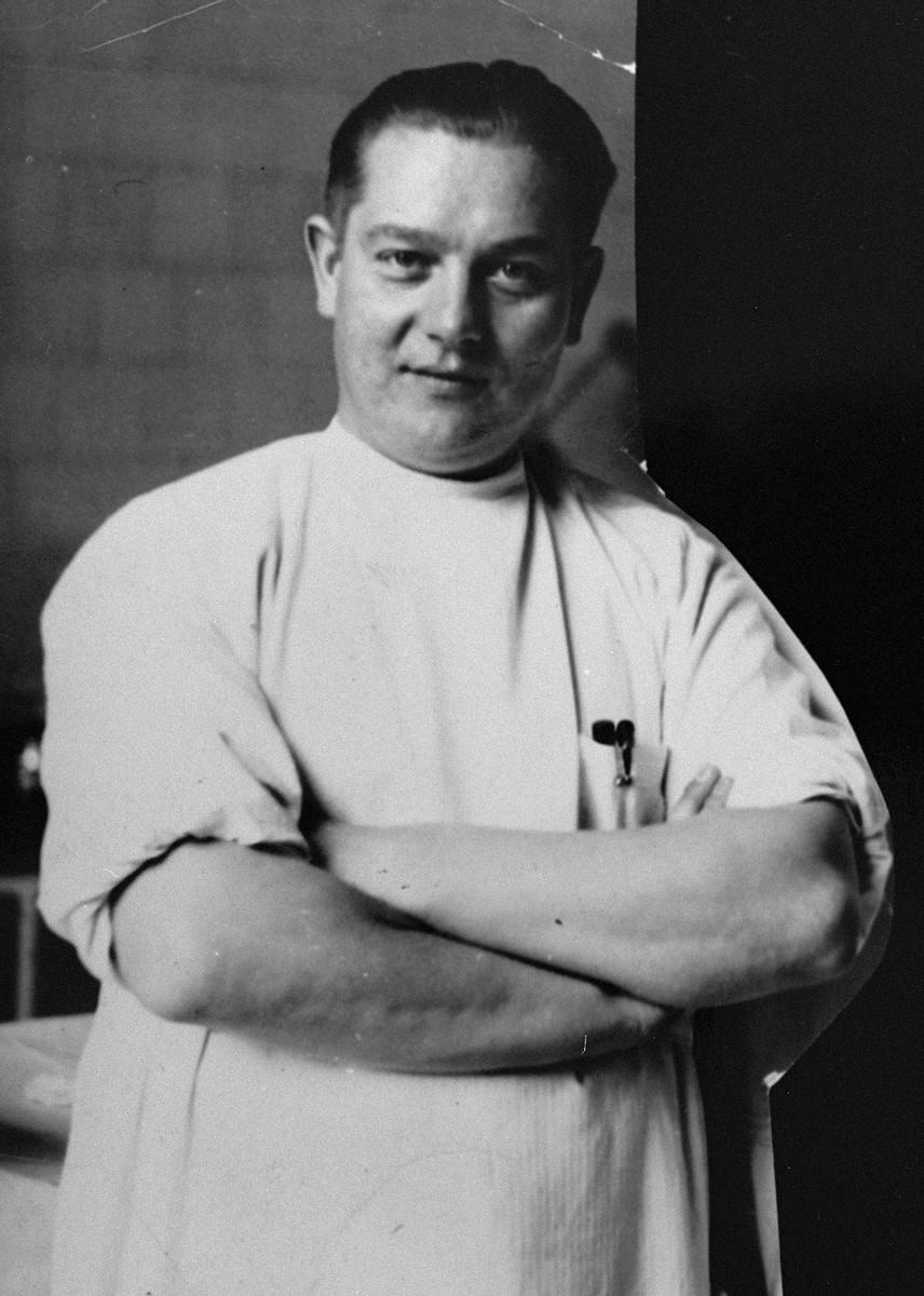Portrait of Dr. Joseph Jaksy in his clinic in Bratislava.