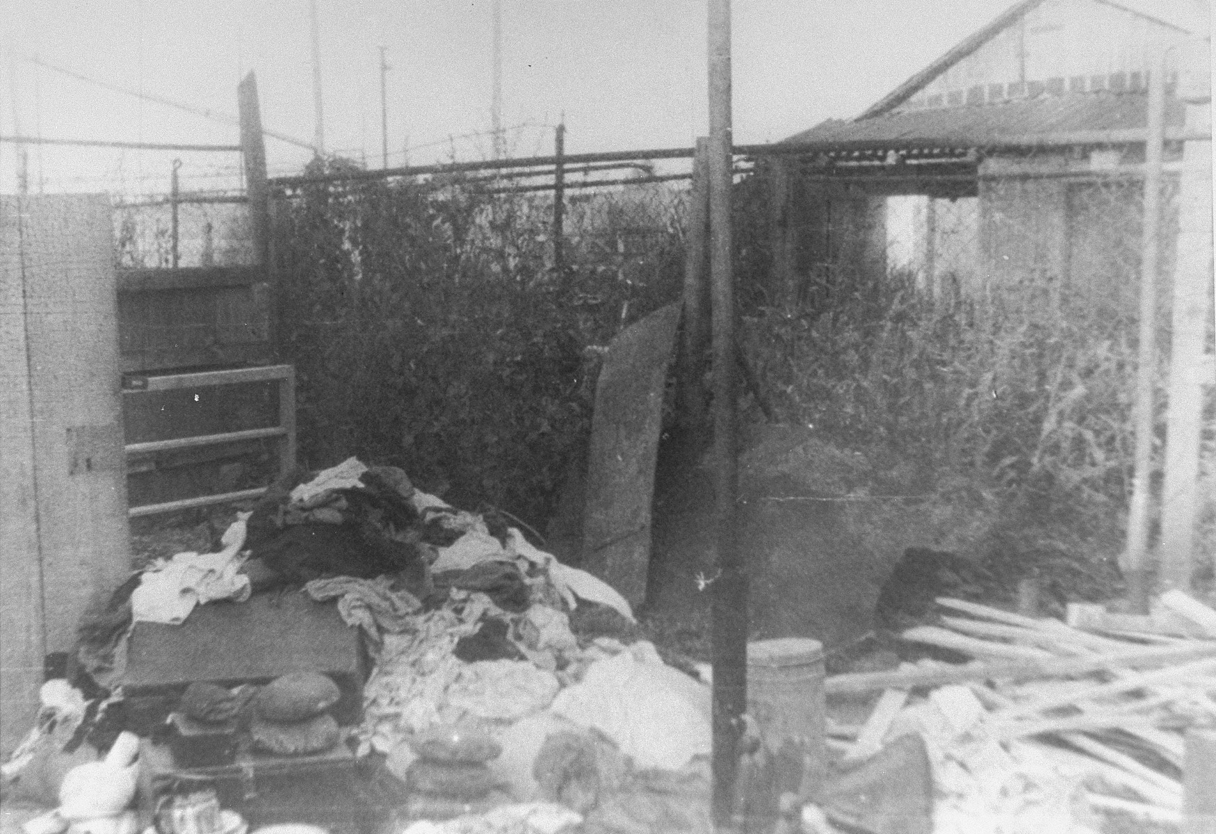 View of a former hiding place of Sabina Haberman, after its discovery.   Seen are the belongings of its inhabitants.