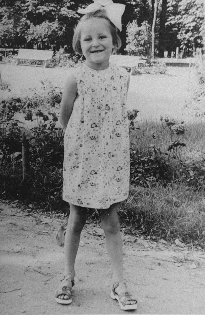 Portrait of a young Jewish girl who is living in hiding in Busko-Zdroj, Poland.  Pictured is Selma Schwarzwald.