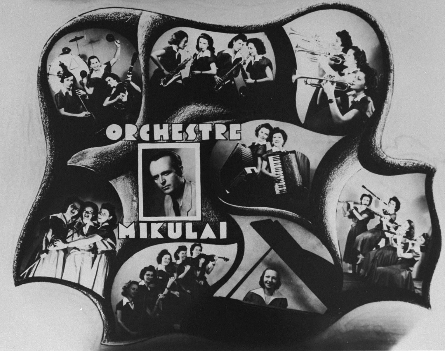Poster advertising Gustav Mikulai's all-female orchestra.