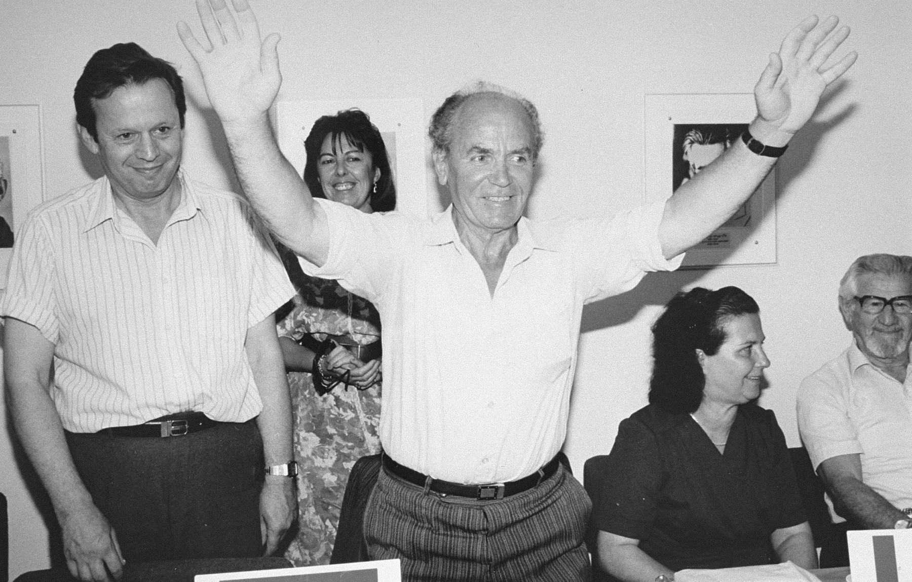 Refik Veseli, (1927--), the Albanian rescuer who sheltered the family of Gavra Mandil, at the award ceremony at Yad Vashem.  In 1990 Refik Veseli was recognized by Yad Vashem as one of the Righteous Among the Nations.