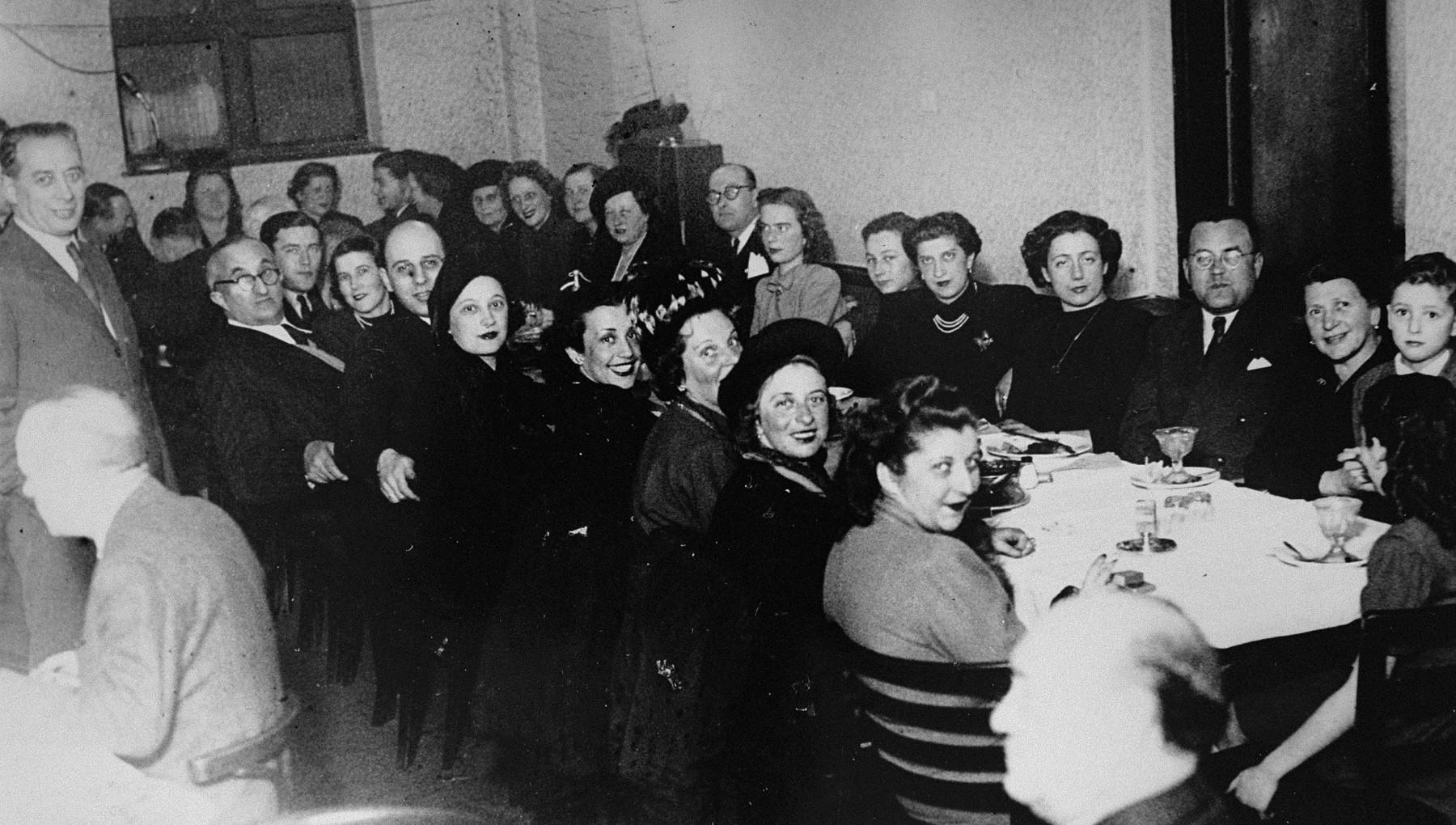 Postwar reunion of Hungarian Jewish survivors in Budapest.