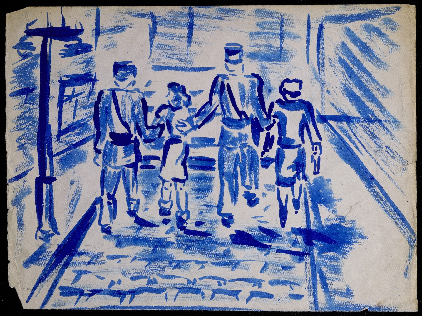 """A page of a sketchbook created by Elizabeth Kaufmann during her stay in Nazi-occupied France.   The drawing in blue of a street scene with four figures is entitled """"Elizabeth and her mother arrested by French gendarmes."""""""