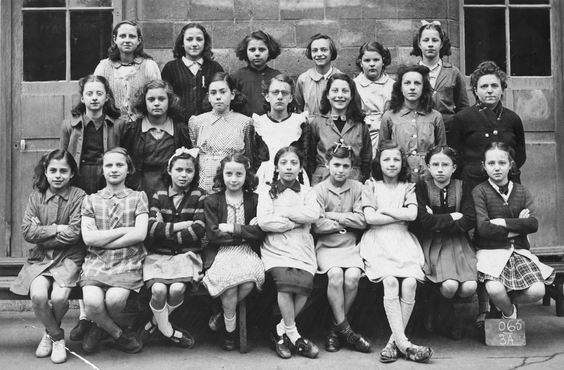 Elementary school class that Blanche Krakowski (front row center) attended after returning from hiding.