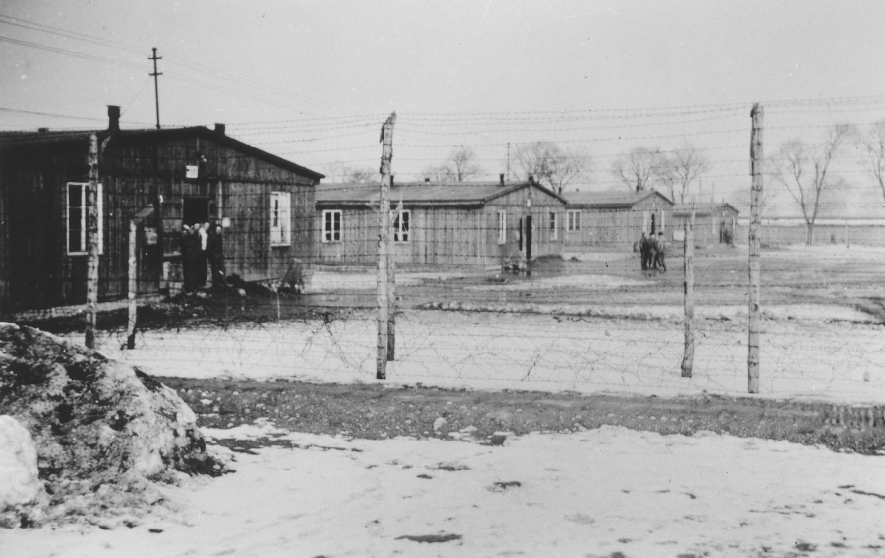 Behind the barbed wire fence of an unidentified labor camp, small groups of prisoners stand outside a row of barracks.   One image from a photograph album belonging to a member of Police Battalion 101.