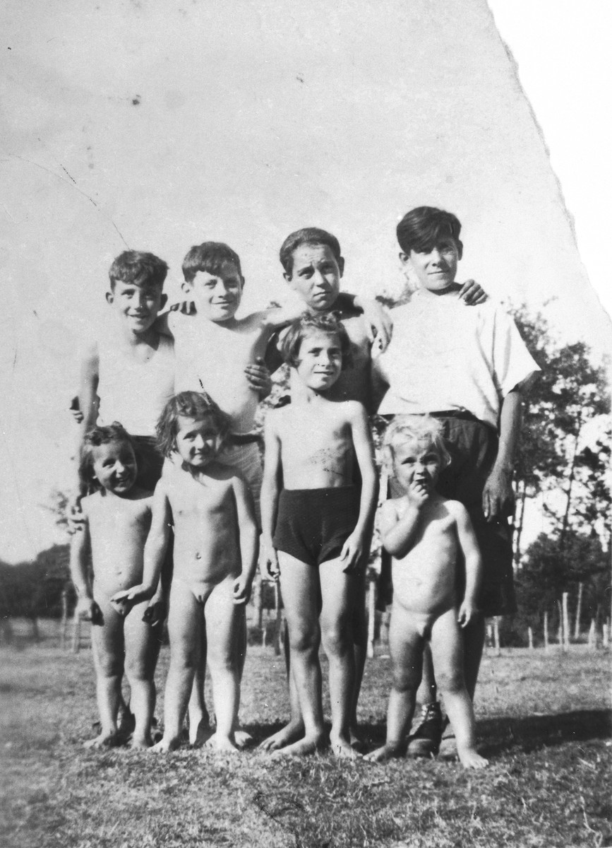 Blanche Krakowski poses with a group of other children on the farm where she was hiding.