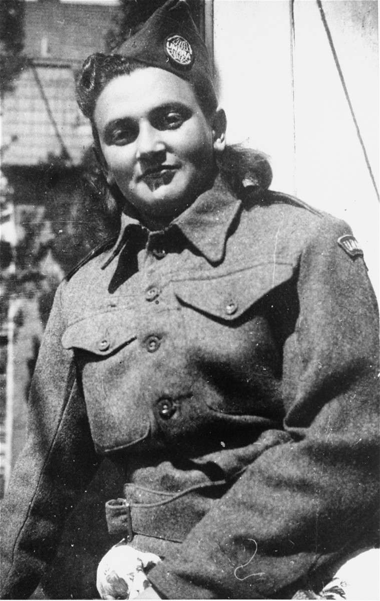 Close-up of Esther Brauner in her UNRRA uniform at the Stuttgart displaced persons camp.