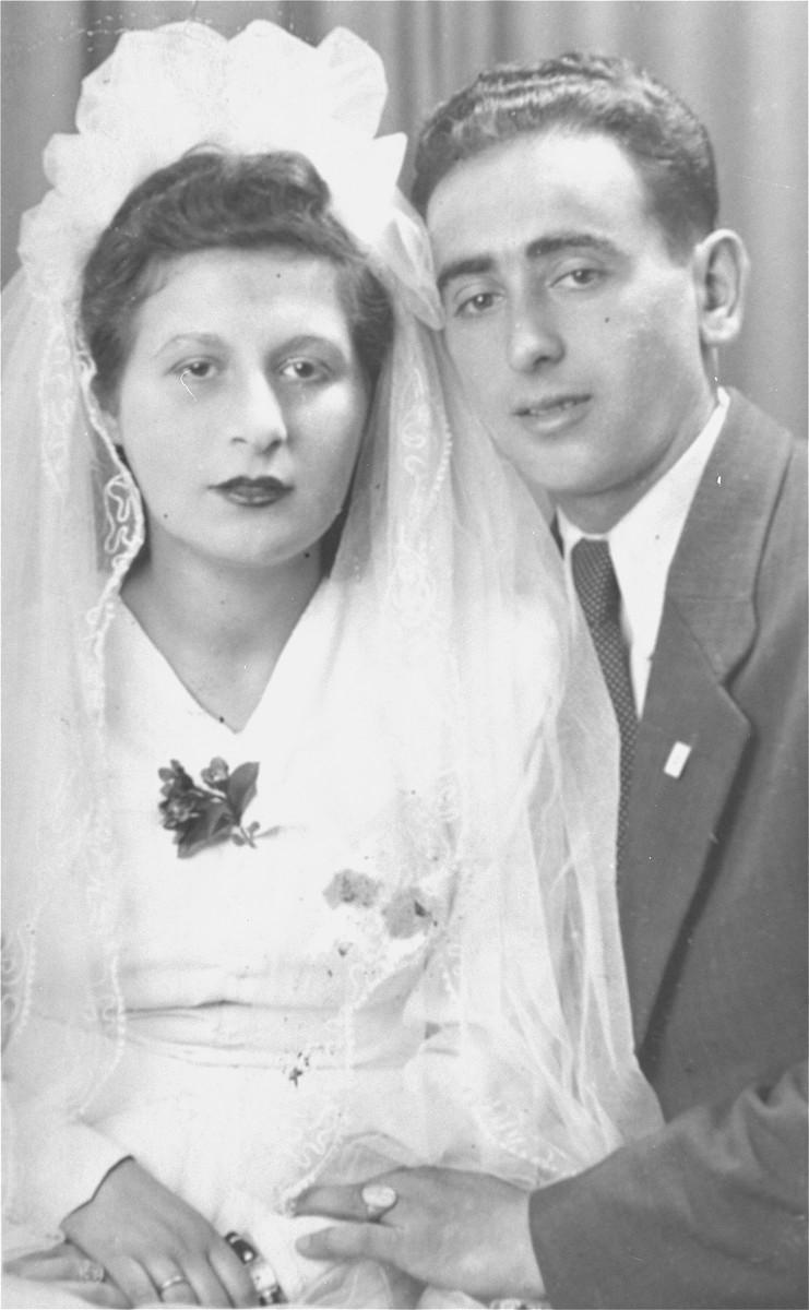 Wedding portrait of Marcus and Eva Malinger.