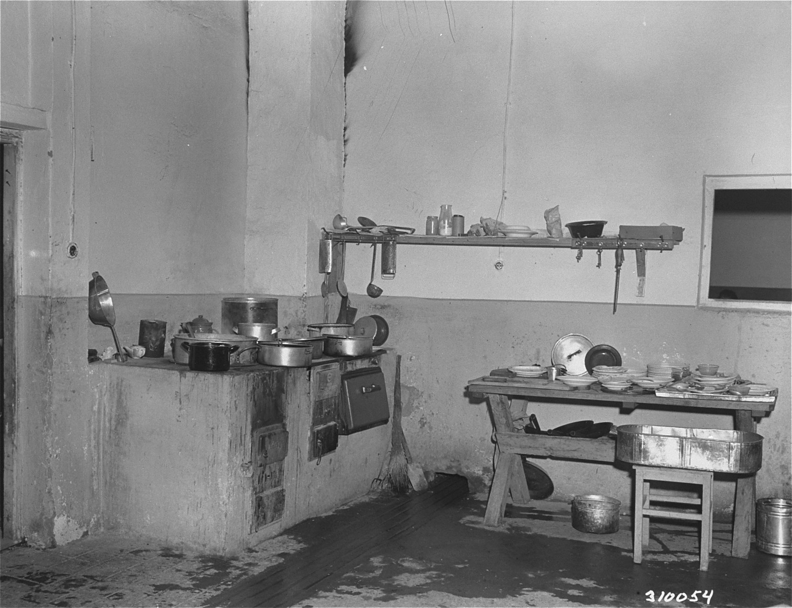 A kitchen where meals were prepared for unmarried men at the Jewish displaced persons camp in Wetzlar.