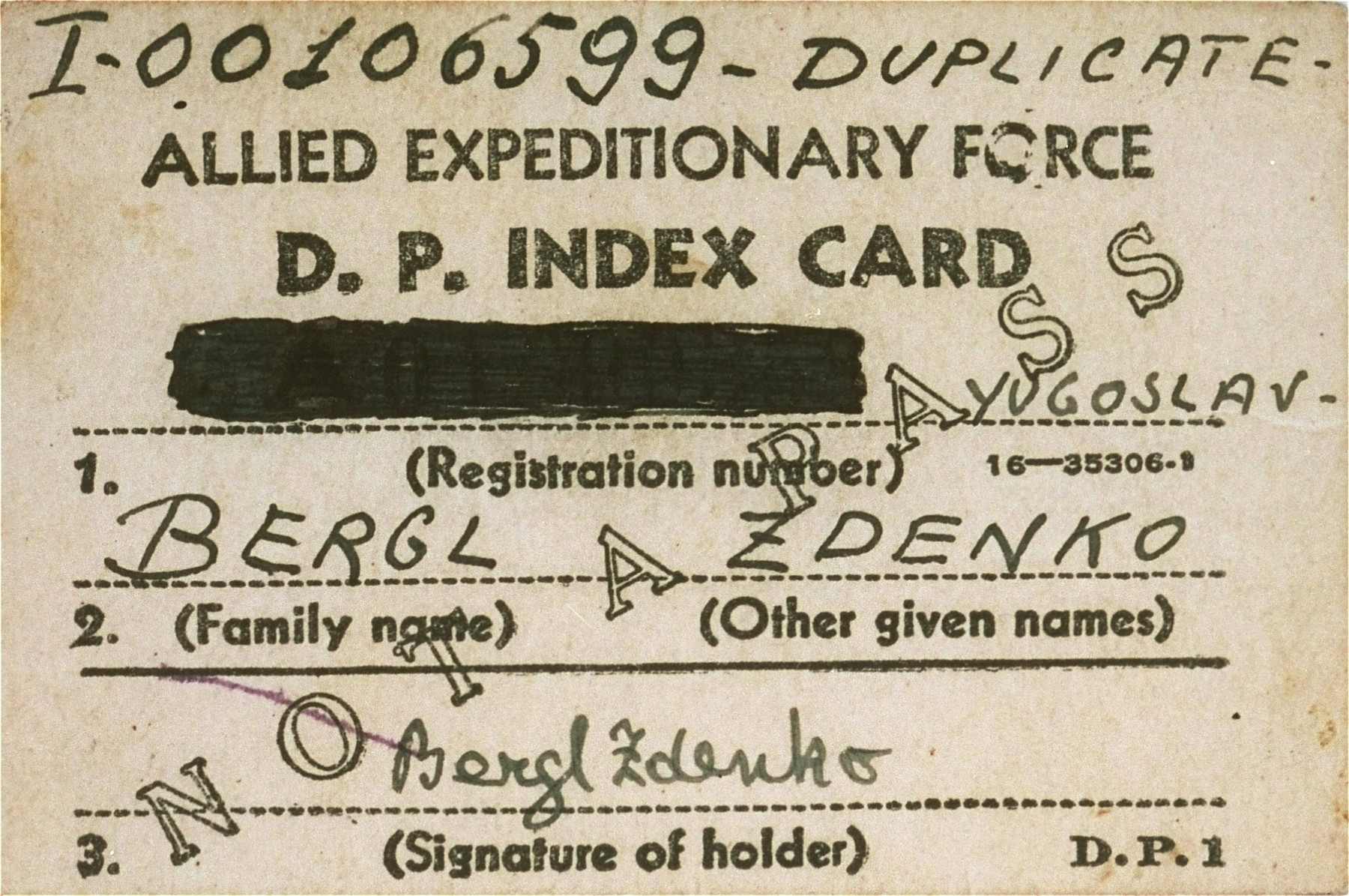 DP index card issued to Zdenko Bergl when he arrived at the Cinecitta displaced persons camp.