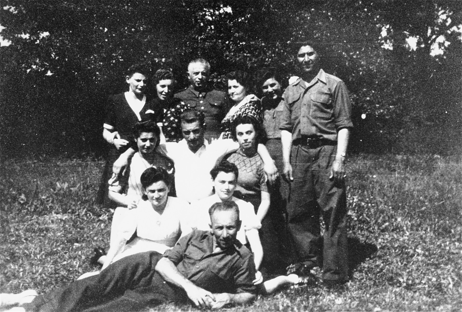 Group portrait of UNRRA workers and DPs at the Stuttgart displaced persons camp.