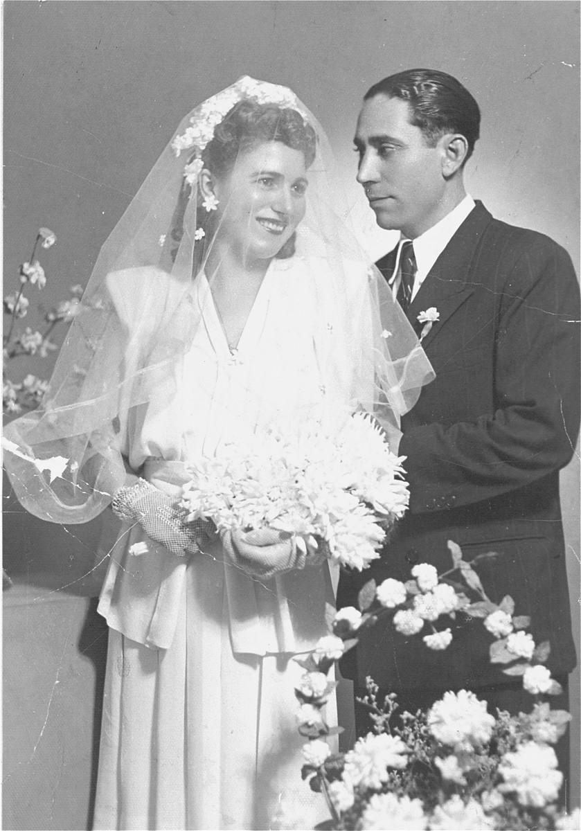 Wedding portrait of Carolina Nissim and Sinto Mallah.