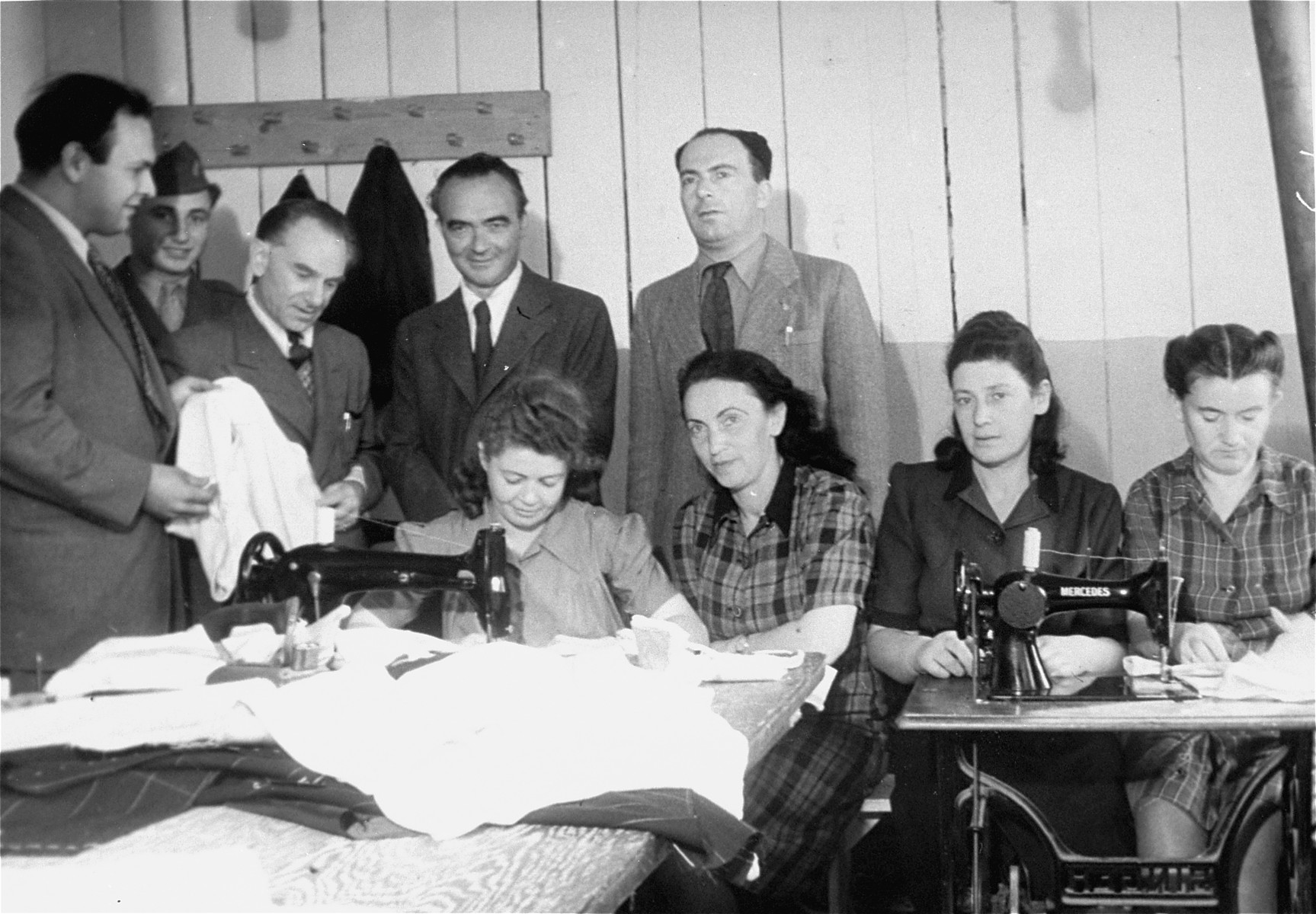A sewing workshop at Neu Freimann displaced persons camp.