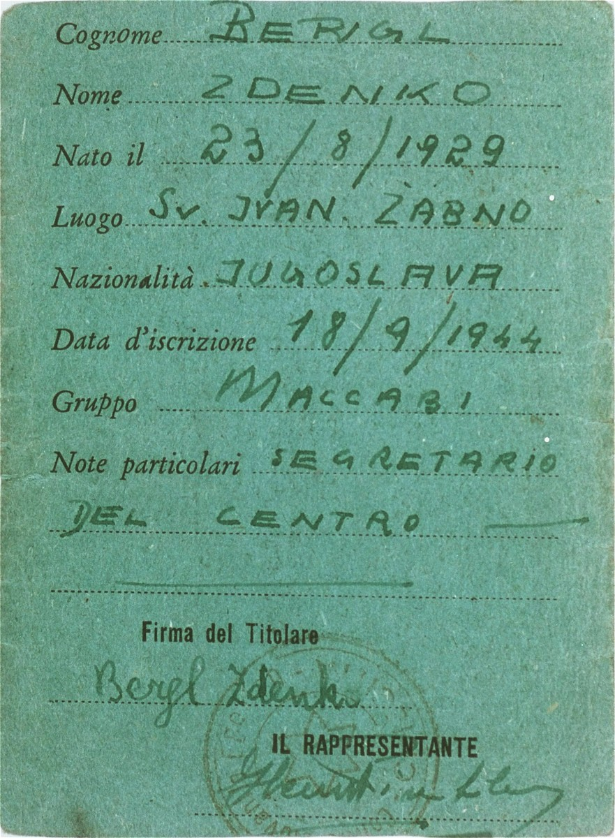 Membership card issued to Zdenko Bergl (and signed by him) for the Jewish youth center at the Cinecitta displaced persons camp.  The club was established by Bergl and Henry Winkler, a fellow DP from Vienna.