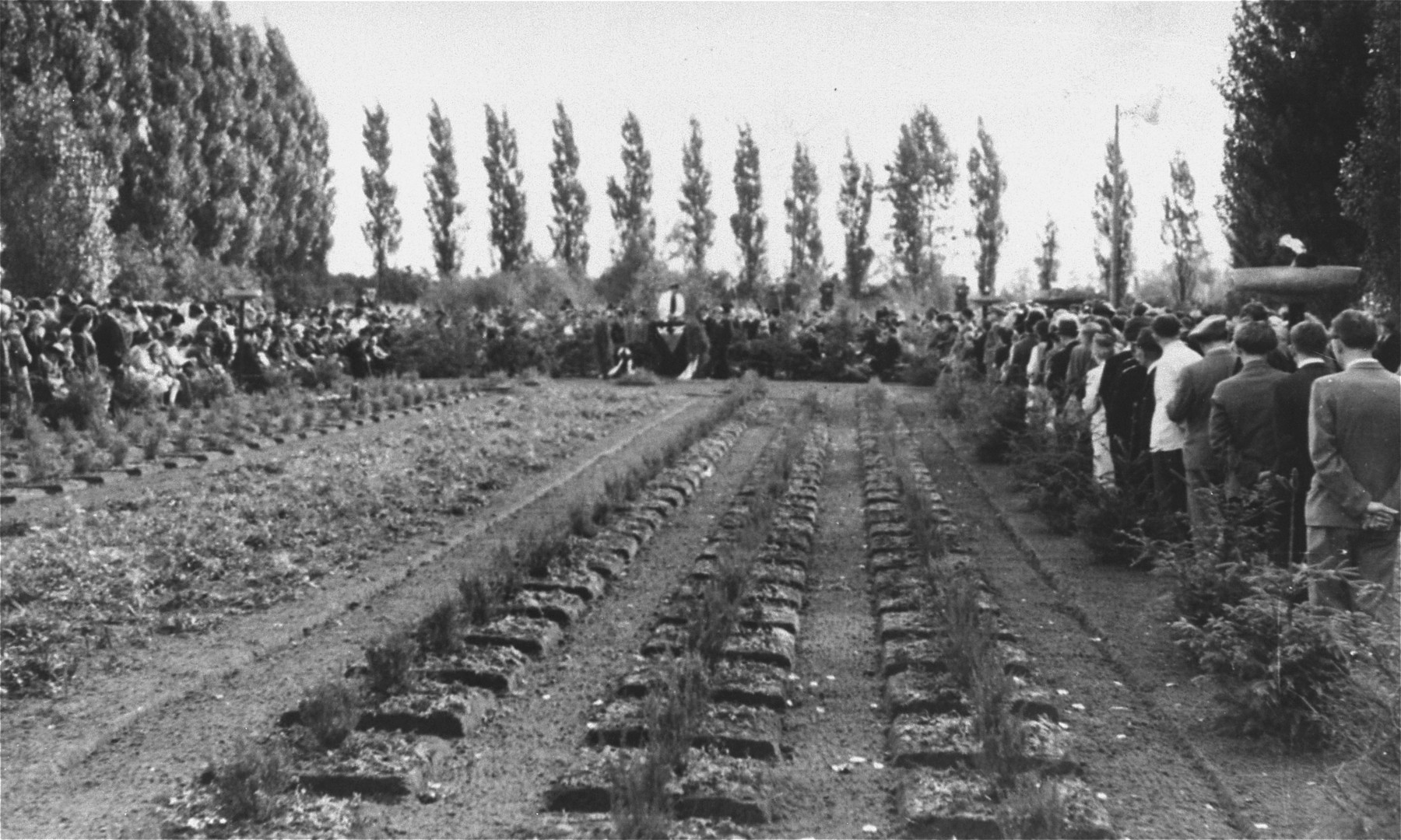 Funeral in Munich for prisoners who died on the death marches of 1944-45.