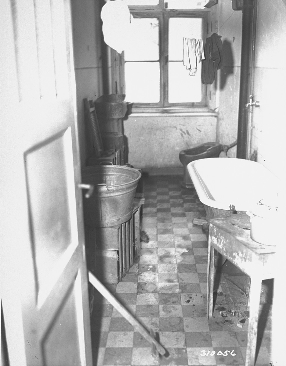 An example of the poor sanitary conditions at the Jewish displaced persons camp in Wetzlar.  This is a two-family bathroom.