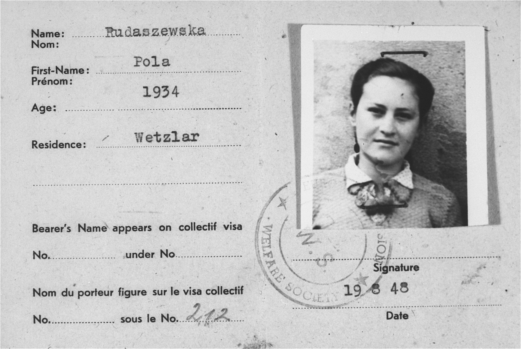 DP identity card issued to Cilia Rudashevsky in the Wetzlar displaced persons camp.