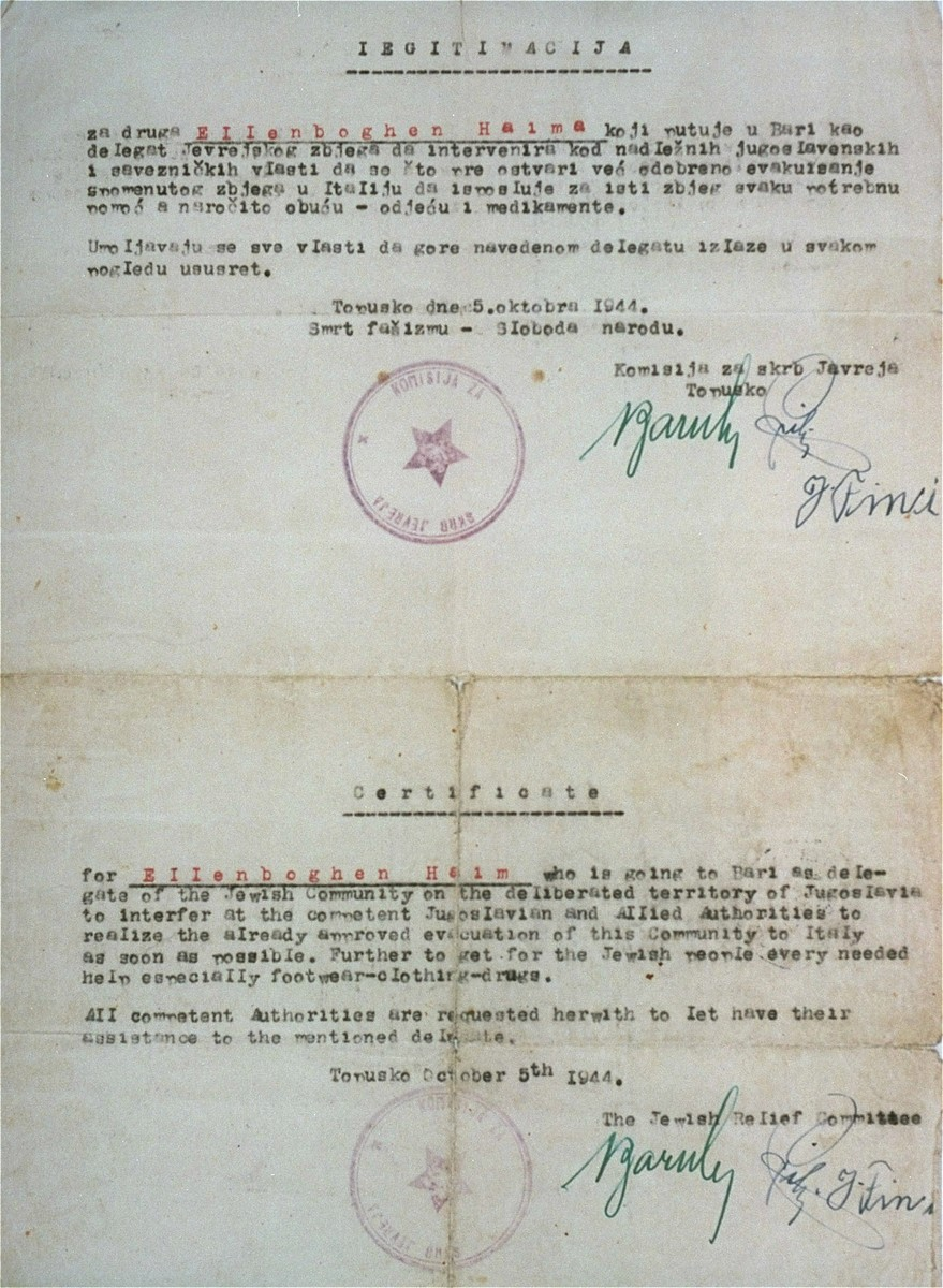 Document issued to Haim Ellenboghen, the donor's father, by the Jewish Relief Committee of Topusko, certifying that he is a delegate of that Committee on a mission to Bari, and that all authorities are to offer him assistance in the carrying out of his tasks.