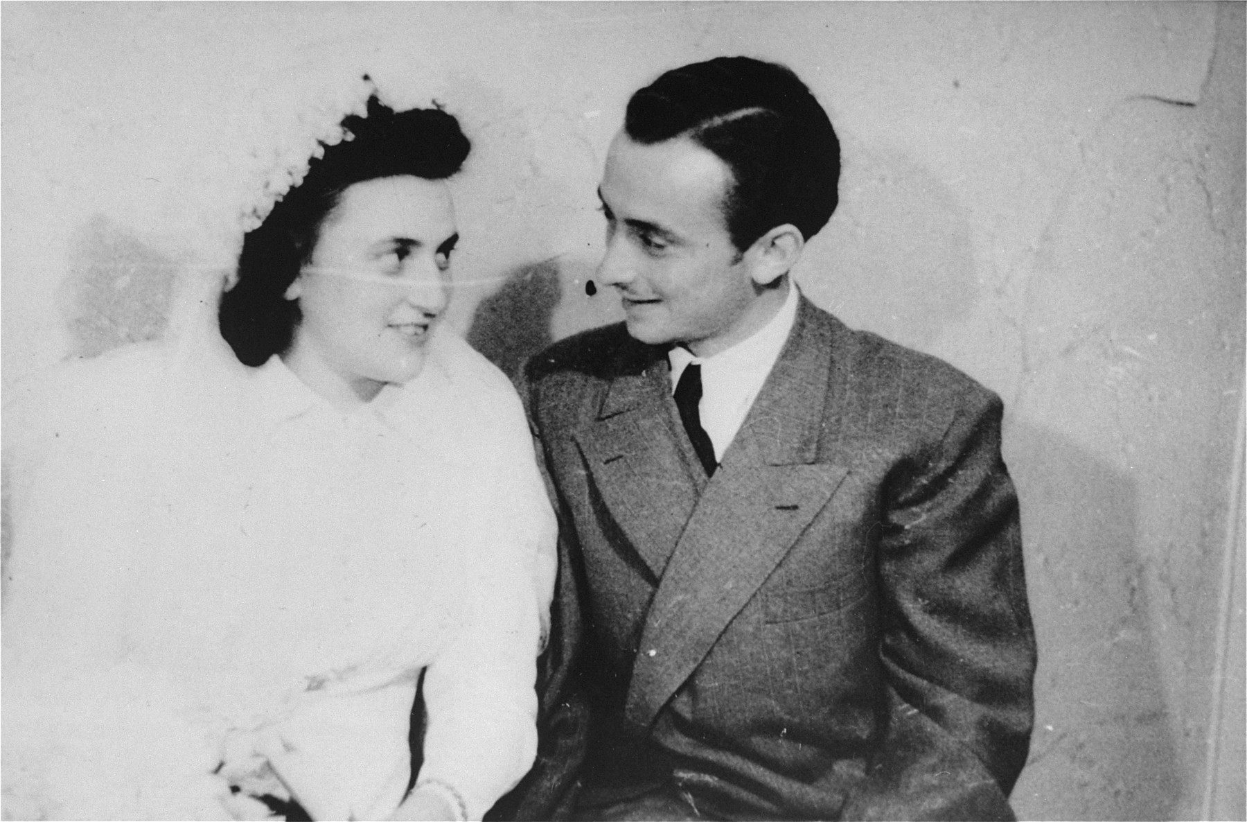 Wedding portrait of Henry and Esther Brauner in the Stuttgart displaced persons camp.