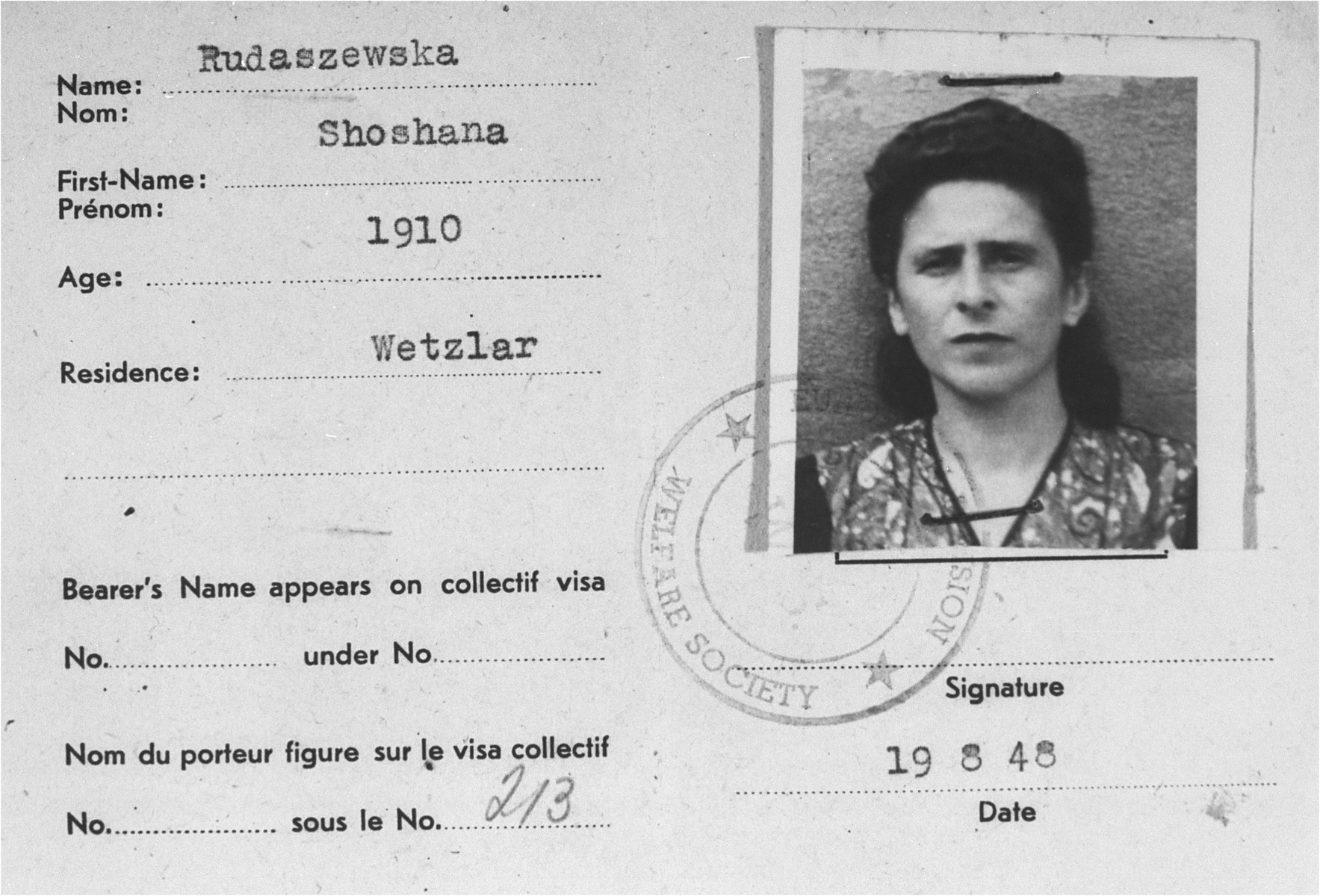DP identity card issued to Rosa Rudashevsky in the Wetzlar displaced persons camp.