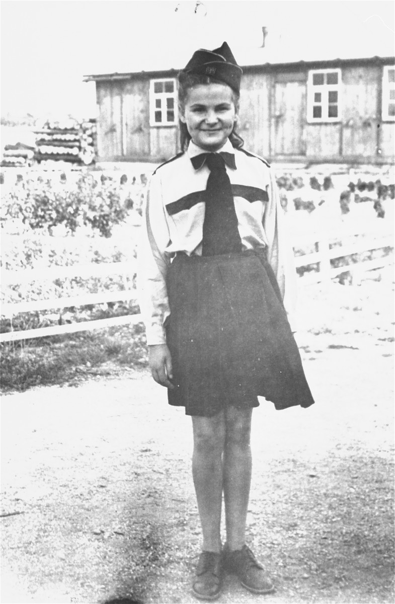 Frima Gleiser poses in her Betar uniform in the Pocking displaced persons camp.