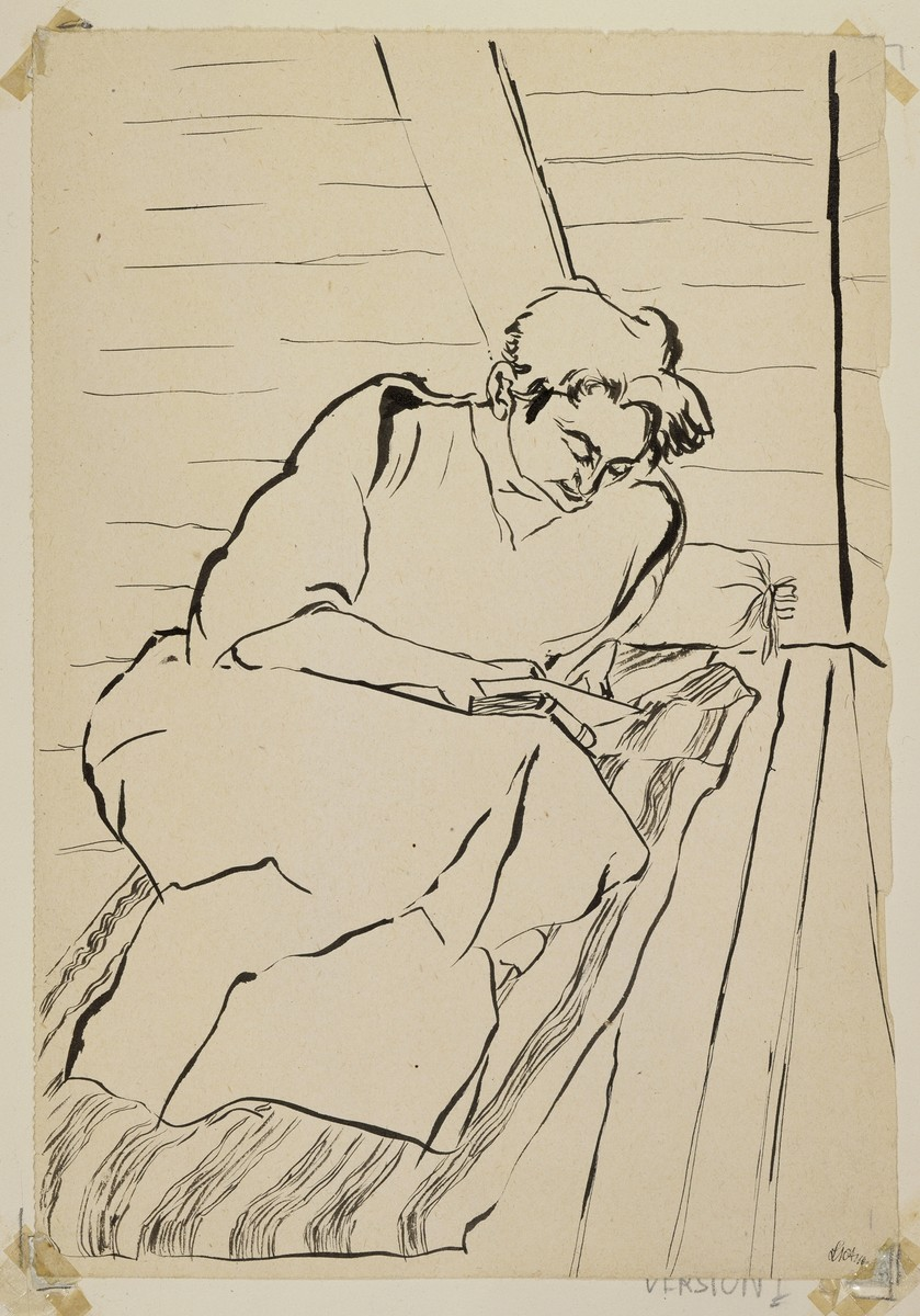 """Woman on Straw Sack Reading""  Version 1. (Two versions) [Title field] by Lili Andrieux."