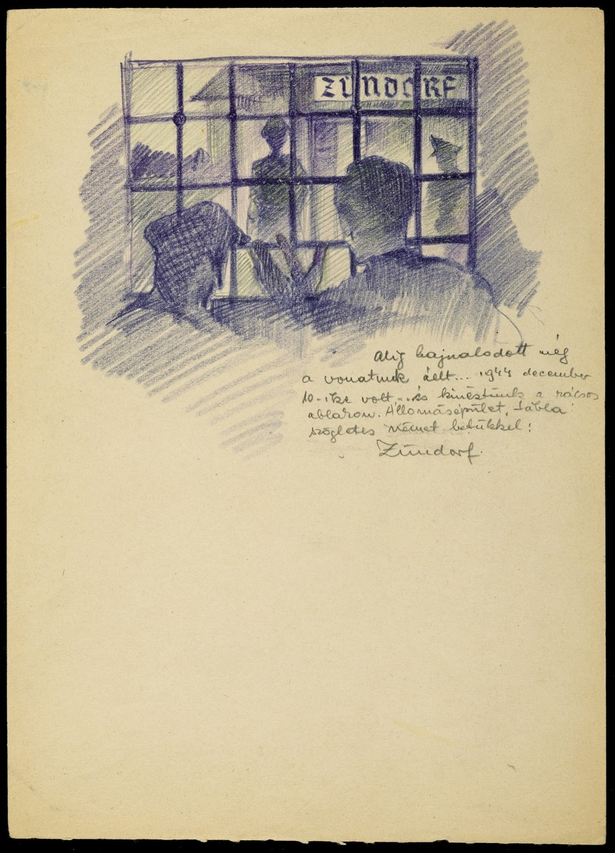 Holocaust art by Ervin Abadi. Pencil drawing.  Ervin Abadi, a Hungarian Jew from Budapest, was an aspiring young artist when WWII began.  He was drafted into the Hungarian labor service in the early 1940s.  Abadi managed to escape, but  was recaptured and immediately deported to Bergen-Belsen.  When the camp was liberated, his condition was such that he required extended hospitalization.  During his convalescence, he created dozens of works of holocaust art, including ink drawings, pencil and ink sketches and  watercolors. After recuperating Abadi returned to Budapest, where he published a collection of his watercolors in 1946.  After becoming disillusioned with the communist regime in Hungary, he moved to Israel, where he continued to publish in Hungarian and Hebrew.  He died in Israel in 1980.