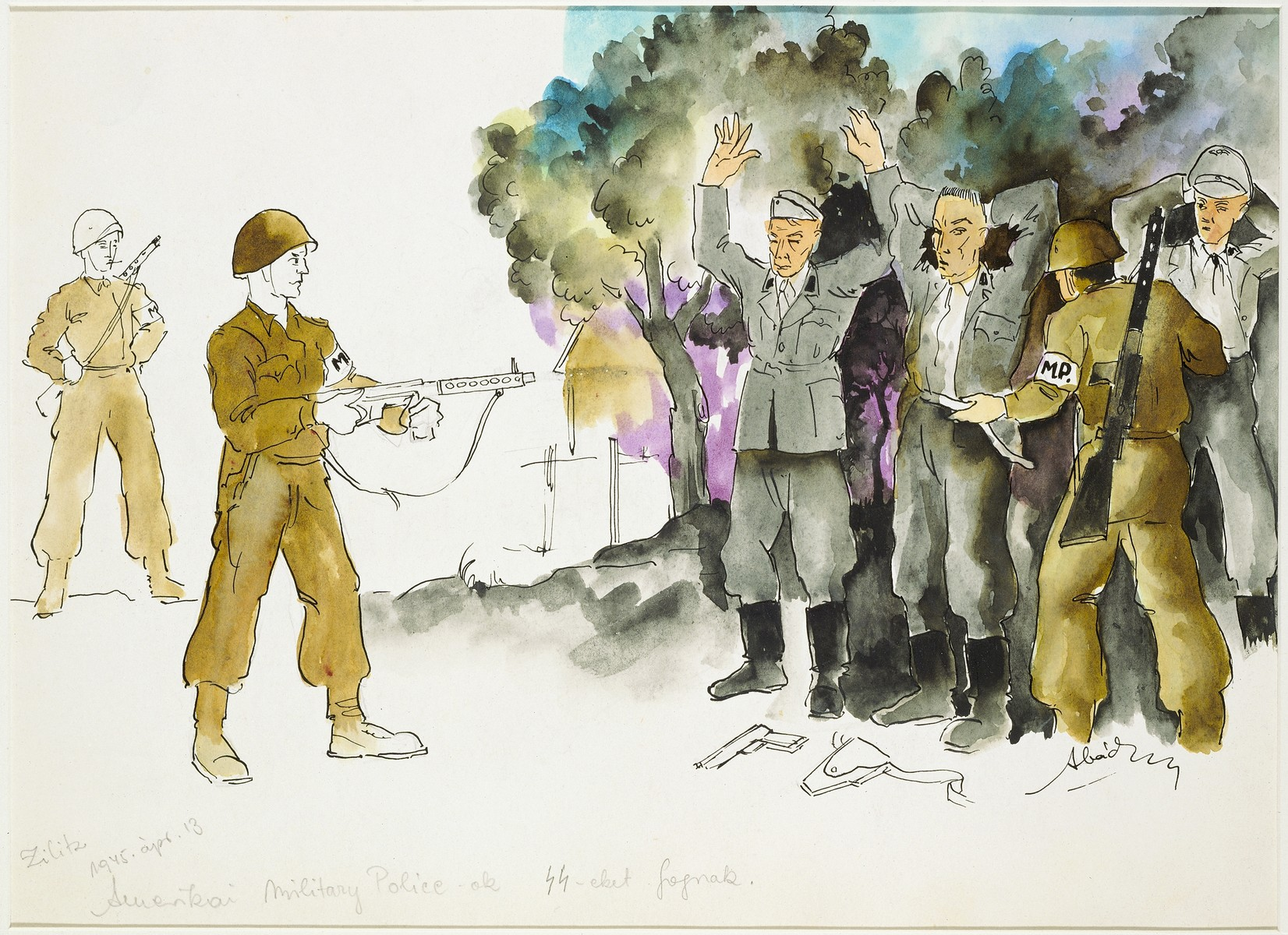 """American Soldiers Rounding Up SS Guards""  by Ervin Abadi. Watercolor and ink drawing.  Ervin Abadi, a Hungarian Jew from Budapest, was an aspiring young artist when WWII began.  He was drafted into the Hungarian labor service in the early 1940s.  Abadi managed to escape, but  was recaptured and immediately deported to Bergen-Belsen.  When the camp was liberated, his condition was such that he required extended hospitalization.  During his convalescence, he created dozens of works of holocaust art, including ink drawings, pencil and ink sketches and  watercolors. After recuperating Abadi returned to Budapest, where he published a collection of his watercolors in 1946.  After becoming disillusioned with the communist regime in Hungary, he moved to Israel, where he continued to publish in Hungarian and Hebrew.  He died in Israel in 1980."