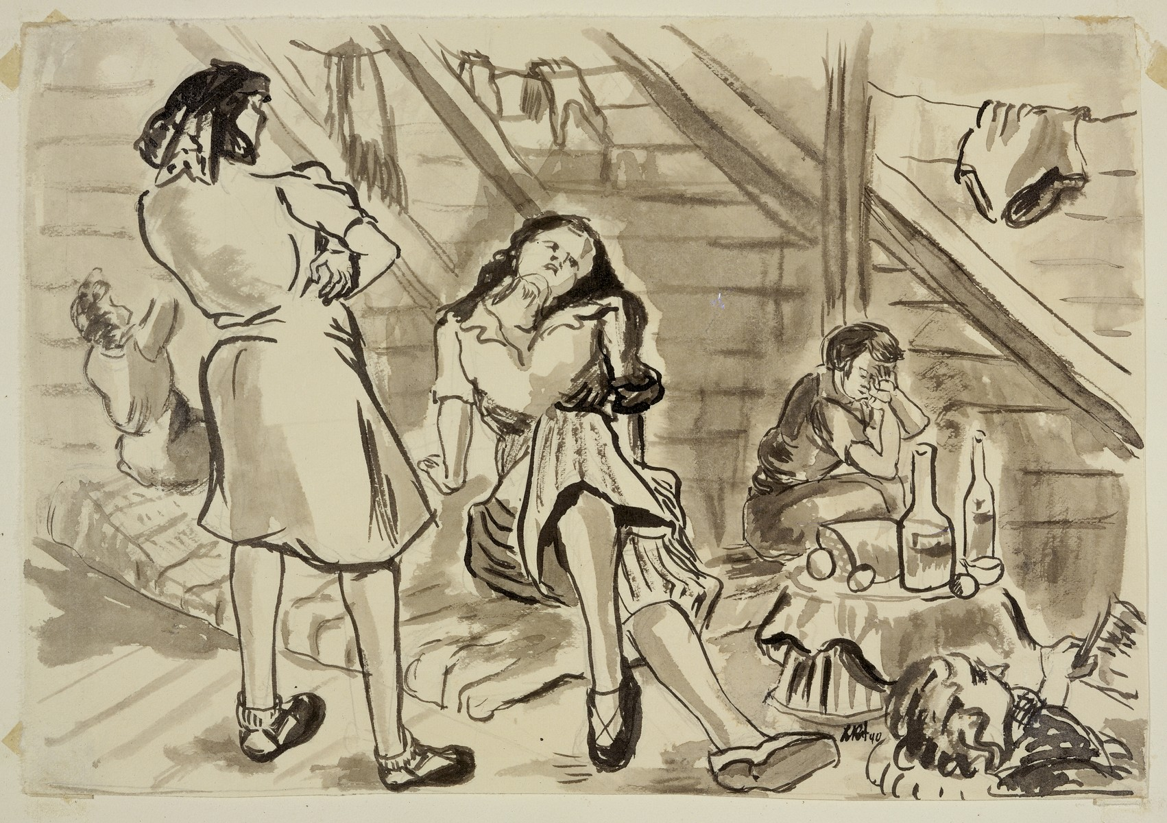 "Sketch of five women by Lili Andrieux entitled, ""Barracks Interior with Bread and Two Bottles (Version II)."""