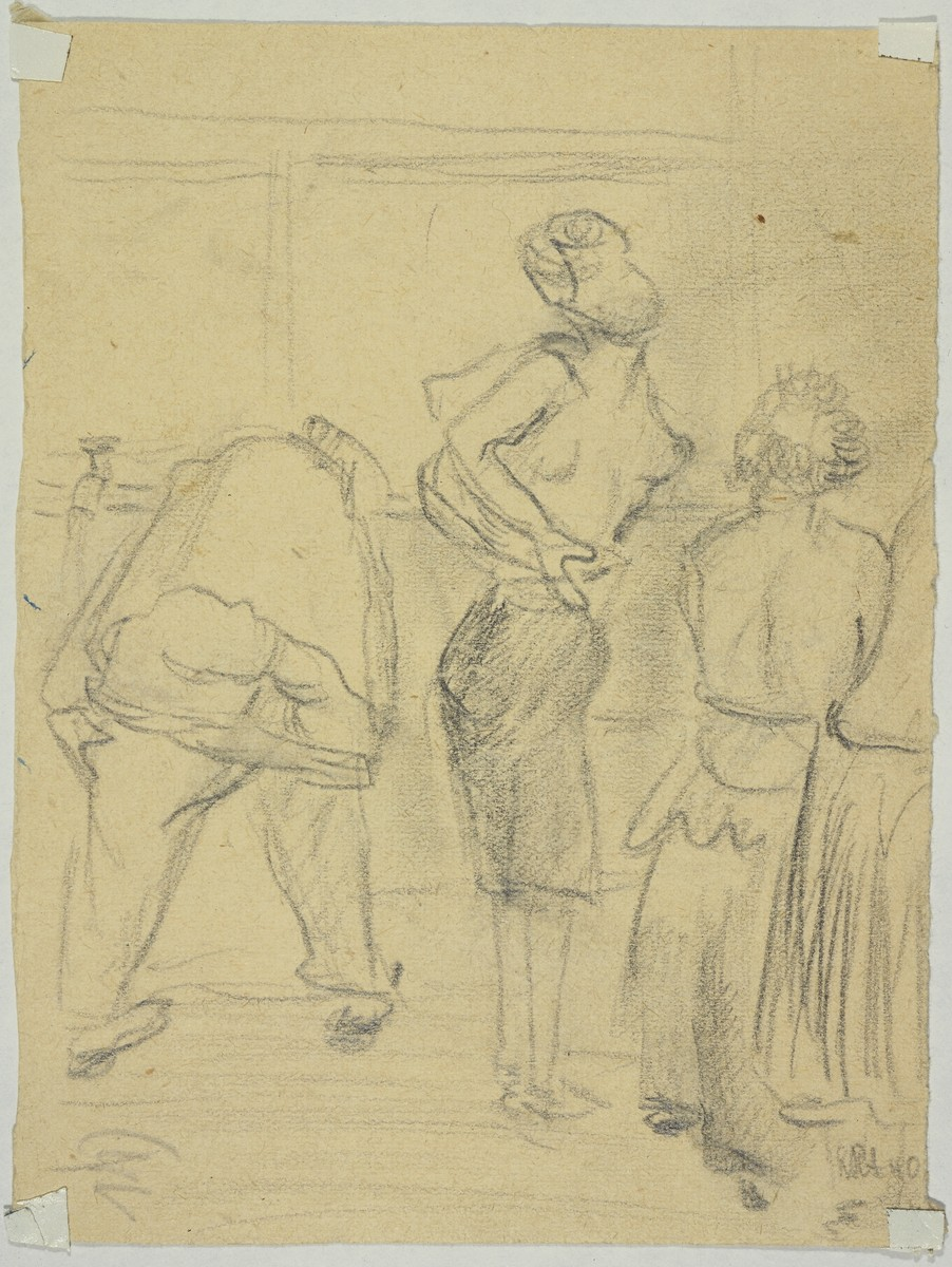 """Women Stripping to Wash"" by Lili Andrieux.  Sketch of women getting undressed; verso of 1988.001.01a"