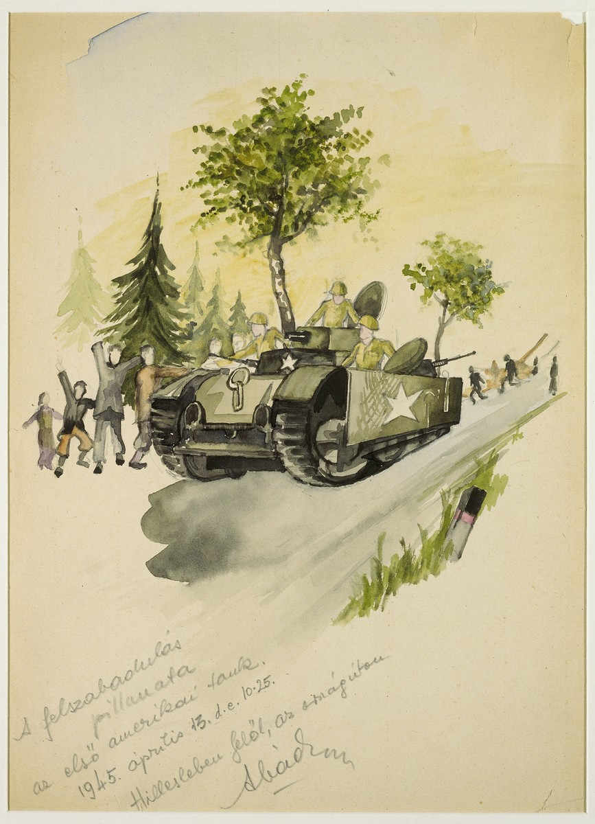 Watercolor and pencil drawing drawing by Ervin Abadi, depicting British (?) liberators arriving in a tank.