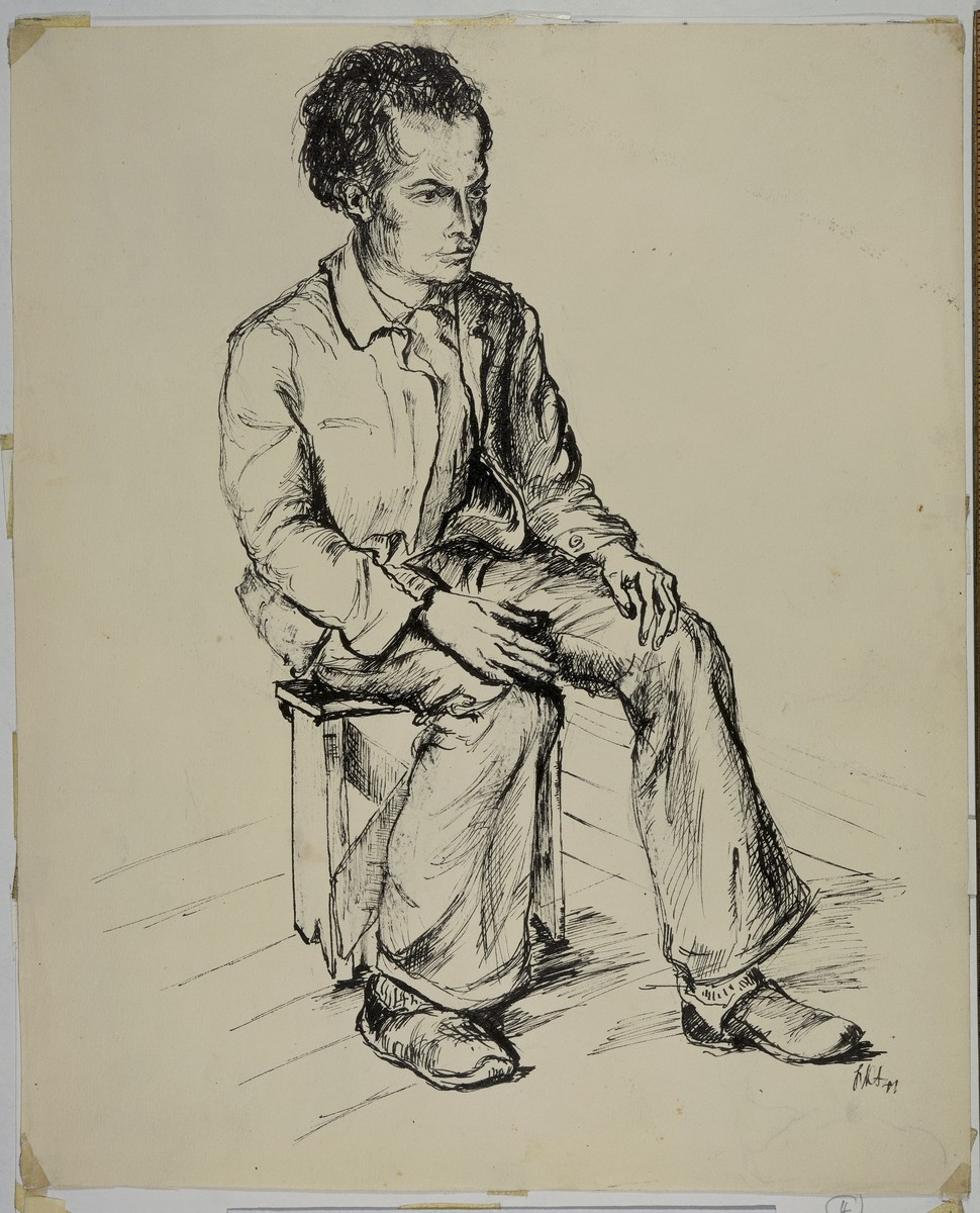 """Un de Mes Petits Freres"" [One of My Little Brothers] by Lili Andrieux.  Sketch of man wearing suit, seated on a small stool, his hands on his knees."
