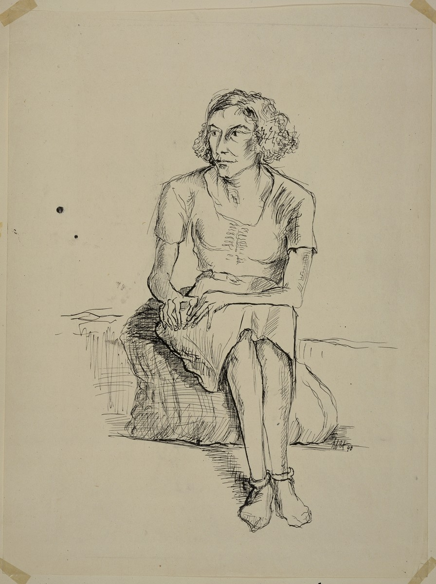 """The Crazy Alsatian"" by Lili Andrieux.  Sketch of woman wearing dress, seated, and looking to her right, her hands resting on her right leg."