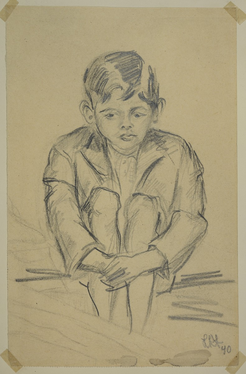 """""""Garcon Hindou"""" [Hindu Boy] by Lili Andrieux.  Sketch of small boy seated, arms around his leg."""