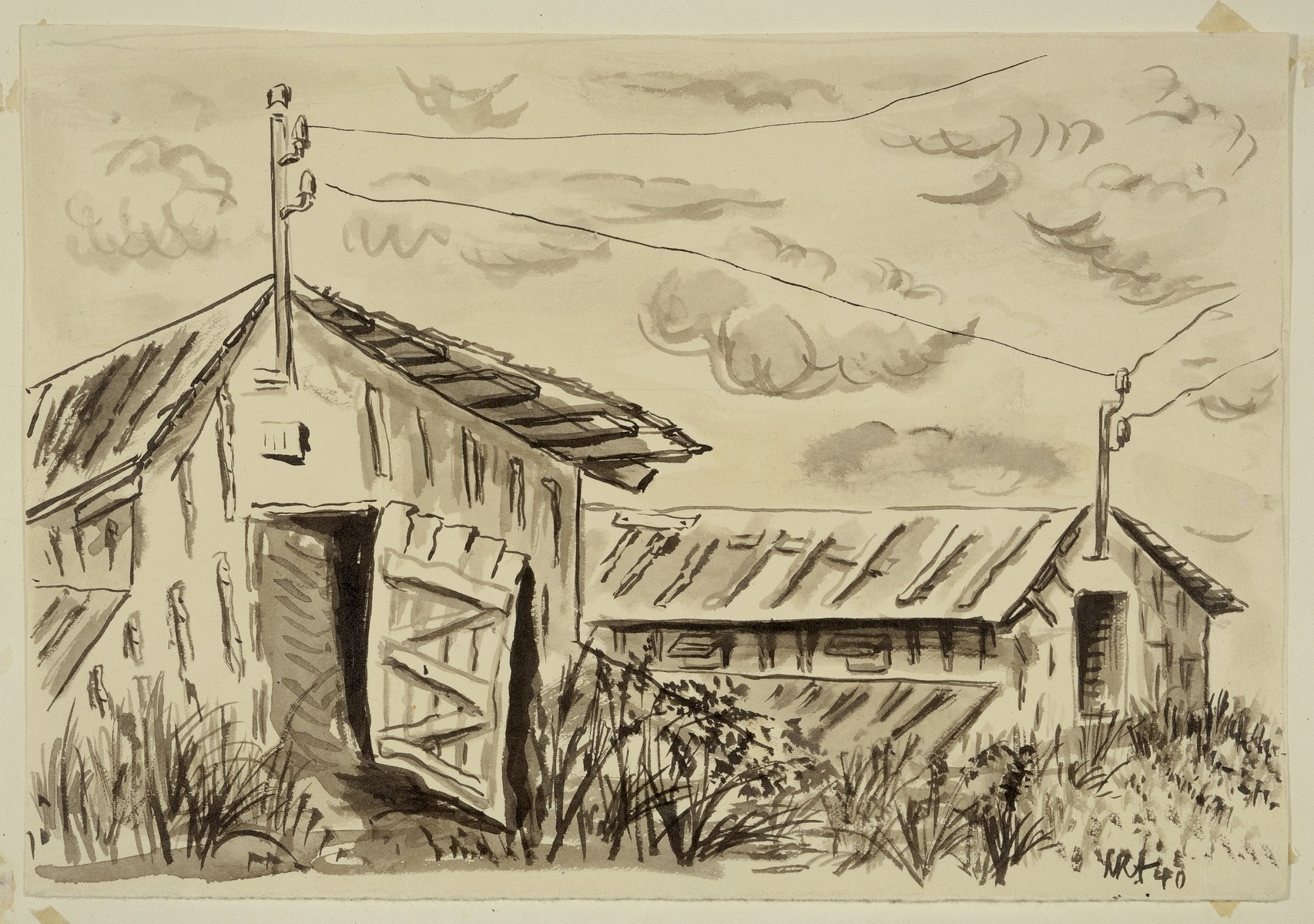 """Convalescent Barracks"" by Lili Andrieux.  Sketch of wooden barracks with doors open, and electric utility pole with wires above doors."