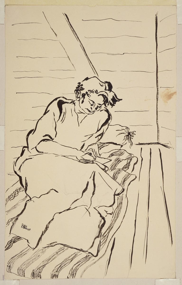 """""""Woman on Straw Sack Reading (Version II)"""" by Lili Andrieux."""